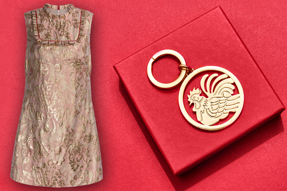 """Sandro dress and Tory Burch """"Rooster"""" keyring"""